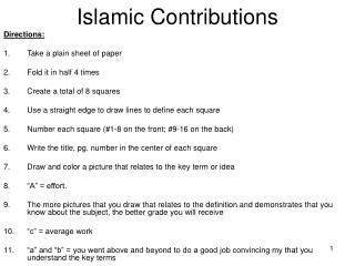 Islamic Contributions
