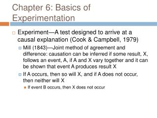 Chapter 6: Basics of Experimentation