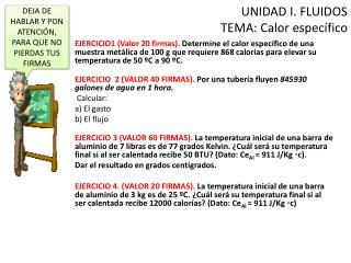 UNIDAD I. FLUIDOS TEMA: Calor específico