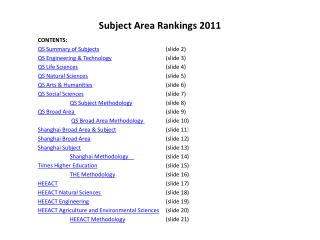 Subject Area Rankings 2011