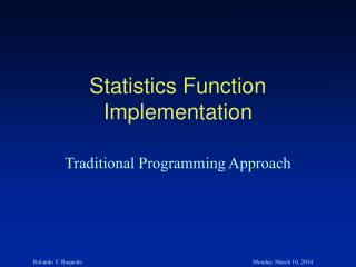 Statistics Function Implementation
