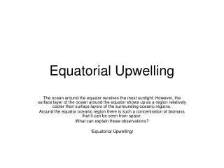 Equatorial Upwelling