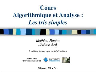 Cours  Algorithmique et Analyse : Les tris simples