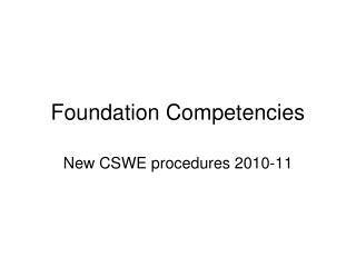 Foundation Competencies