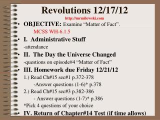 Revolutions 12/17/12 mrmilewski