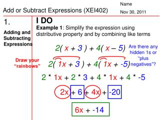 1.   Adding and Subtracting Expressions