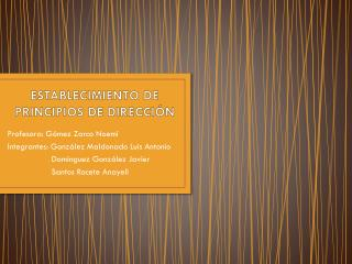 ESTABLECIMIENTO DE  PRINCIPIOS  DE  DIRECCIÓN