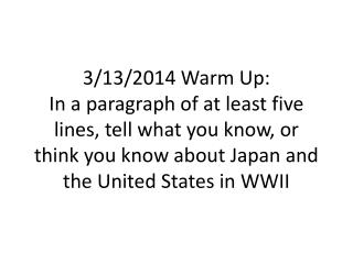 Japan, The US and WWII