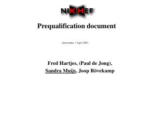Prequalification document