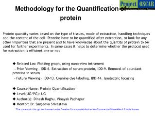 Methodology for the Quantification of  protein