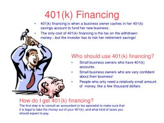 401(k) Financing