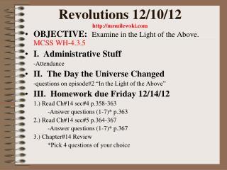 Revolutions 12/10/12 mrmilewski