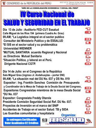 IV Curso Nacional de SALUD Y SEGURIDAD EN EL TRABAJO