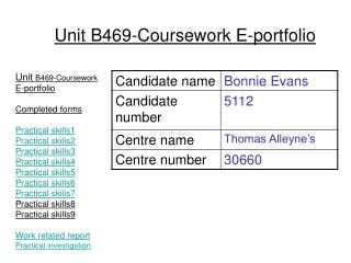 Unit  B469-Coursework E-portfolio Completed forms Practical skills1 Practical skills2