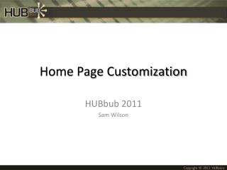 Home Page Customization