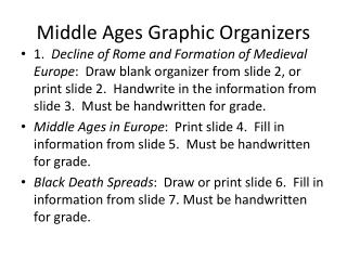 Middle Ages Graphic Organizers