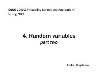 4. Random variables part two