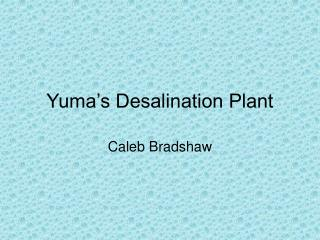 Yuma s Desalination Plant