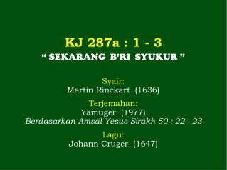 KJ  287a  : 1 - 3