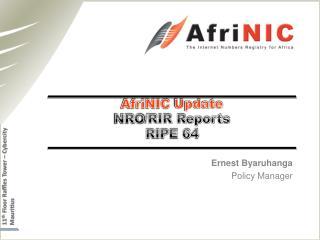 AfriNIC  Update NRO /RIR Reports  RIPE 64