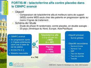 FORTIS-M : talactoferrine alfa contre placebo dans le CBNPC avancé