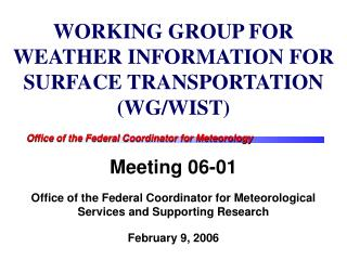 WORKING GROUP FOR WEATHER INFORMATION FOR SURFACE TRANSPORTATION (WG/WIST)