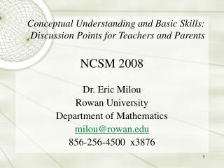 Conceptual Understanding and Basic Skills: Discussion Points for Teachers and Parents