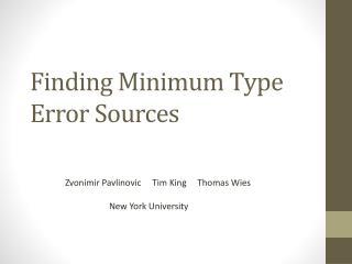Finding Minimum Type Error Sources