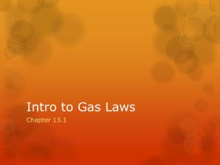 Intro to Gas Laws