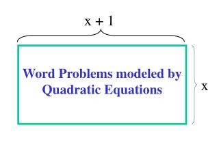 Word Problems modeled by Quadratic Equations