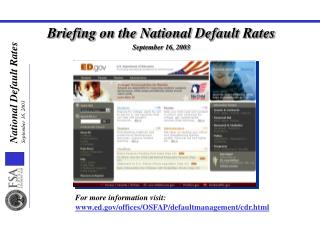 Briefing on the National Default Rates September 16, 2003