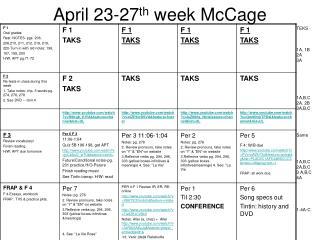 April 23-27 th  week McCage