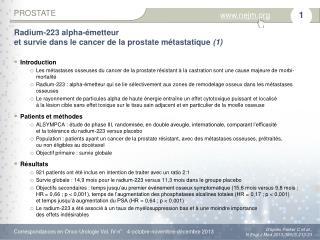 Radium-223  alpha-émetteur etsurvie dans le cancer delaprostate métastatique (1)
