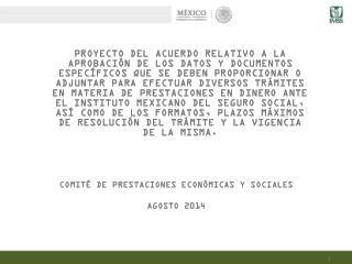 COMITÉ DE PRESTACIONES ECONÓMICAS Y SOCIALES AGOSTO  2014