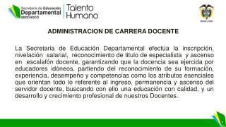 ADMINISTRACION DE CARRERA DOCENTE