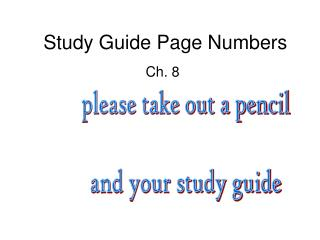 Study Guide Page Numbers