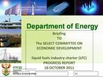 Briefing  TO The SELECT COMMITTEE ON ECONOMIC DEVELOPMENT   liquid fuels industry charter LFC PROGRESS REPORT  18 OCTOBE