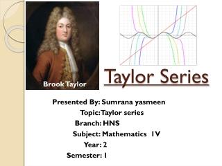 Brook Taylor  Born August 18, 1685 in Edmonton, England