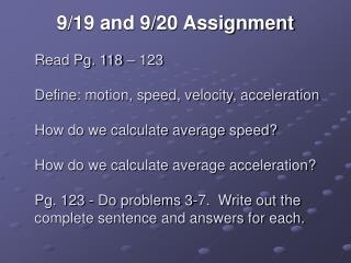 9/19 and 9/20 Assignment