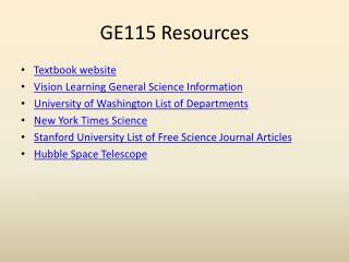 GE115 Resources