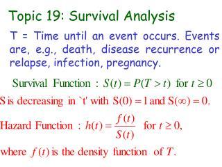 Topic 19: Survival Analysis