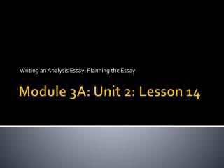 Module 3A: Unit 2: Lesson  14