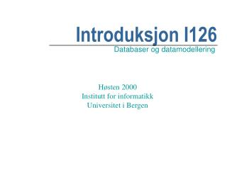 Introduksjon I126