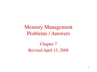 Memory Management Problems / Answers