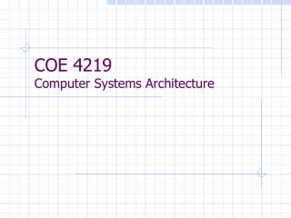 COE 4219  Computer Systems Architecture
