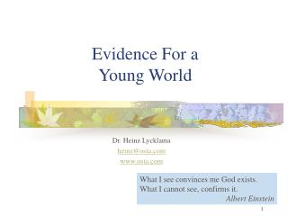 Evidence For a Young World