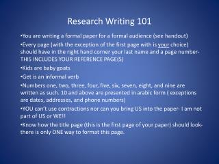 Research Writing 101