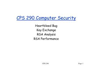 CPS 290 Computer Security