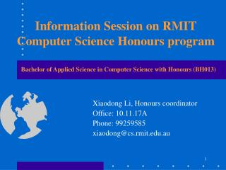 Information Session on RMIT Computer Science Honours program