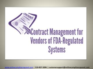 Contract Management for Vendors of FDA-Regulated Systems
